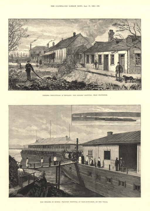 <p>Two illustrations of hospitals specializing in the treatment of cholera.</p>