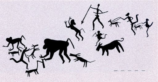 Petroglyphs from Drakensbergs of South Africa illustrating an early hunt with dogs in a manner perhaps analogous to that of the earliest hunter gatherers. Picture used with permission from Vinnicombe P. 1979. People of the Eland: Rock paintings of the Drakenbergs Bushmen as a reflection of their life and thought. Pietermaritzberg: University of Natal Press.