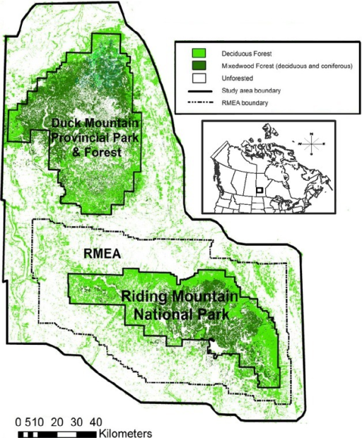 Map Of The Study Area Located On The Agriculture Dominated Lands Surrounding Riding Mountain National
