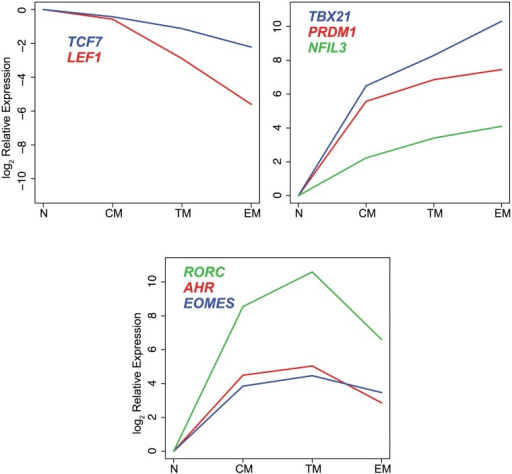 Differential expression of transcription factors in CD8+ naïve and memory T cell subsets.log2 mean expression values were normalized to naïve cell samples.