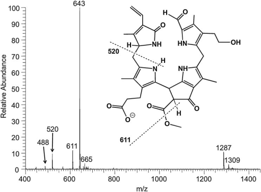 ESI mass spectrum in the negative ion-mode of the NCC 1, and proposed chemical structure of the [M–H]−-ion of 1. The signal at m/z 643 corresponds to deprotonated molecular ion [M–H]−; signals at m/z 611, 520 and 488 correspond to in-source fragments (NCC 1 was dissolved in 4 mM methanolic NH4OAc). Dashed lines signify formal fragmentation modes.
