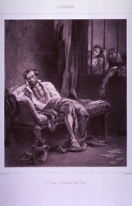 <p>Interior view of a confinement cell at the Asylum of St. Anna in Ferrara, Italy: the inmate, Torquato Tasso, is being mocked by visitors through a barred window.</p>