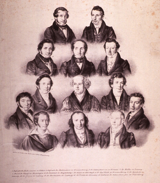 <p>Head and shoulders, full face; with twelve others in similar pose.</p>