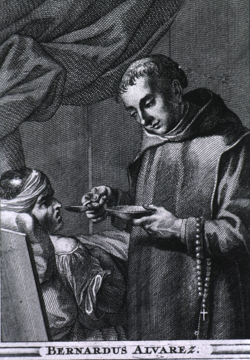 <p>Standing, rosary over arm, giving medicine to sick.</p>