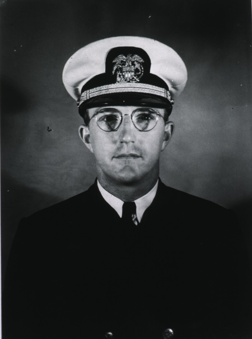 <p>Half-length, full face, wearing white cap and insignia of USPHS officer.</p>