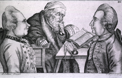 <p>Do not be misled by appearances: two men, an Englishman and a Frenchman, are shown half-length, in profile, in the foreground. They are as much philosophers as the old man sitting in the background pondering over an open book.</p>