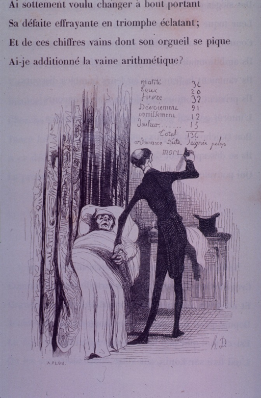 <p>A patient has just died in his bed.  The doctor adds a charge for death to the bill as he takes the patient's pulse.</p>
