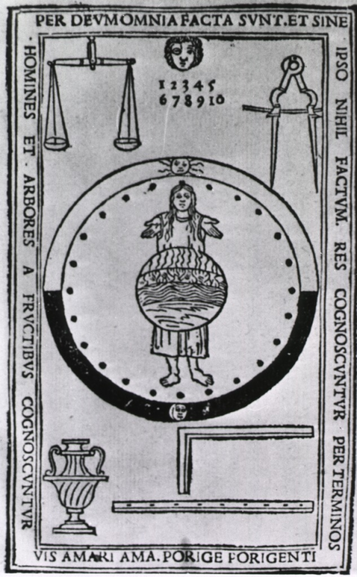 <p>Title page with various symbols, such as a scale, a compass, a circle with the sun at the zenith and the moon at the nadir, a woman standing within the circle with a sphere superimposed over her torso, an urn, a rule, a square, and the numbers 1-10.</p>