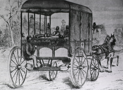 <p>A Civil War ambulance arranged to carry recumbent men.</p>