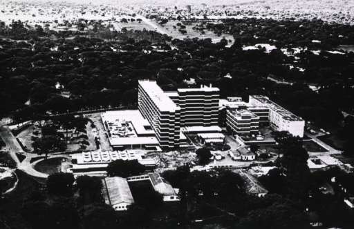 <p>Aerial view of the hospital complex showing tall buildings grouped in the center with smaller buildings around the periphery.</p>