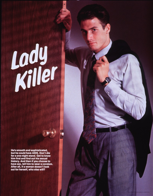 <p>The entire poster is a color photograph of a young, well-dressed man (wearing a tie and slacks). He's standing next to a door with his right arm on the door and his left arm is holding his jacket, which is draped over his left shoulder. The title (in white lettering) is superimposed on the door near the top of the poster, while the picture caption (also in white lettering) is superimposed on the door, closer to the bottom of the poster. Publisher information is in the bottom right-hand corner.</p>