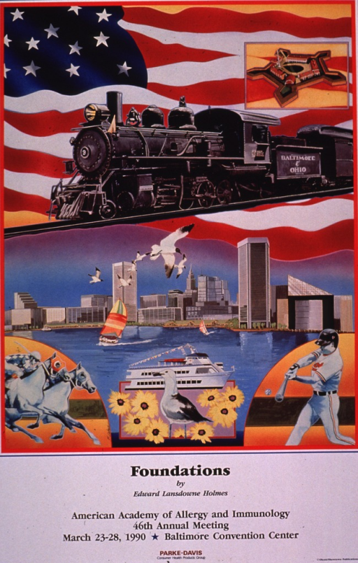 <p>Multicolor poster with black and red lettering.  Visual image is a collage of illustrations that symbolize aspects of Baltimore, Md., including a Baltimore &amp; Ohio train, the Inner Harbor, two horses racing, a gull, some black-eyed susans, and a Baltimore Oriole baseball player.  Title and conference information below collage.  Sponsor information at bottom of poster.</p>