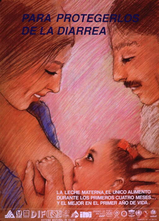 <p>Multicolor poster with blue and white lettering.  Title at top of poster.  Visual image is an illustration of a mother breastfeeding her baby daughter as the father looks on.  Caption near lower right corner suggests mother's milk as the only food for the first four months and the best food in the first year of life.  Publisher information and several logos at bottom of poster.</p>
