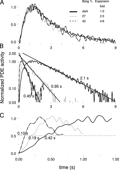 Light adaptation shortens both the rising and falling phases of flash PDE response. Same cell as in Figs. 3 and 5. (A) In this and many other cells, responses on backgrounds of varying intensity can be made to coincide with the dark-adapted response by proper expansion along the time axis. Legend near the curves shows the fraction of dark current blocked by the background, and corresponding expansion factor. (B) Curves from A plotted on log scale against common time axis. Solid straight lines show exponential approximation of the recovery phase. (C) Fronts of the curves from A, with circles marking half-rising time t0.5.