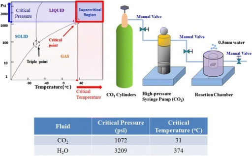 Physical properties and schematic diagram of supercritical CO2fluids systems.