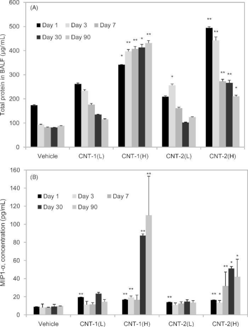 Total protein content and MIP-1α in BALFs following exposure of rats to CNT-1, CNT-2, or vehicle controls at the indicated time points. Total protein content (A) and the levels of MIP-1α (B) in the BALF following exposure of rats to CNT-1, CNT-2, or vehicle controls at each time point. Values are represented as the mean ± SD. The asterisk indicates a statistically significant difference compared to the vehicle control group (multiple permutation-based Welch test, *p < 0.05, **p < 0.01).