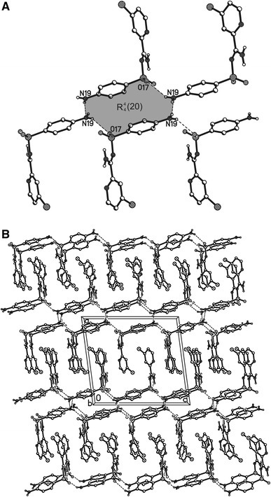 The  (20) hydrogen bond motif (a) and the arrangement of the molecules in the crystal structure of N′-(4-aminophenylsulfonyl)-4-chloropicolinimidamide viewed along b axis (b). Dashed lines: N–H···O and N–H···N interactions. H atoms not involved in interactions omitted