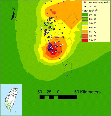An example of estimated PM10 levels in southern Taiwan in 2003 by using air monitoring station data and kriging method. The schools located over the elevation of 600 meter were excluded