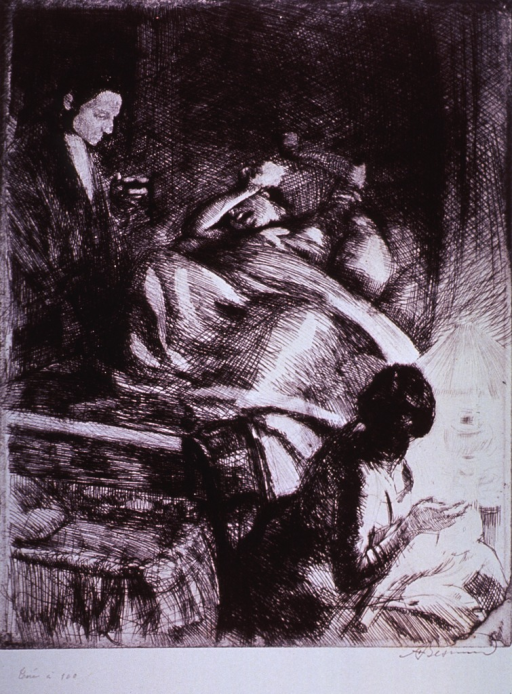 <p>Interior of a bedroom: On a bed, a woman in labor cries out in agony as she covers her head with her arms; an empty bassinet is at the foot of the bed; a doctor is standing at bedside, and to the right is a woman sitting in a chair.</p>