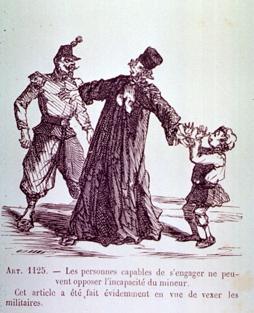 <p>A member of the clergy has stepped in between a man and a child to prevent aggression.</p>
