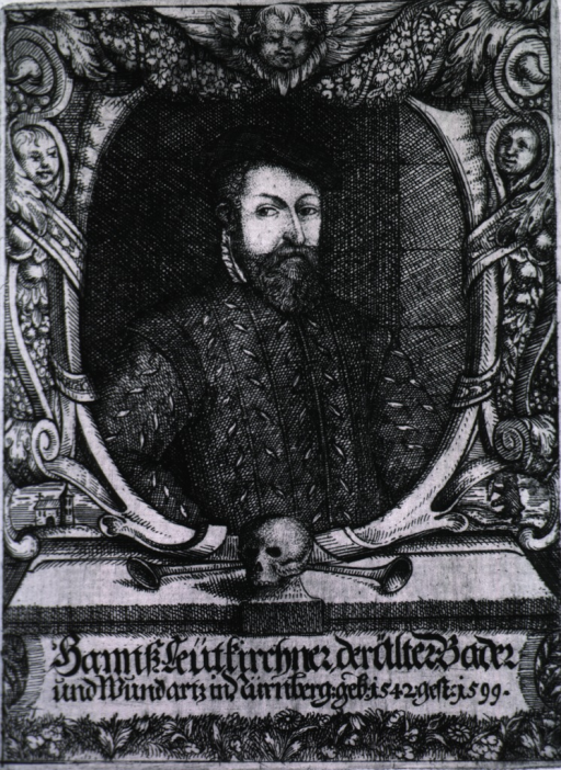 <p>Half-length, right pose, full face; in oval with decorative border; skull in foreground.</p>
