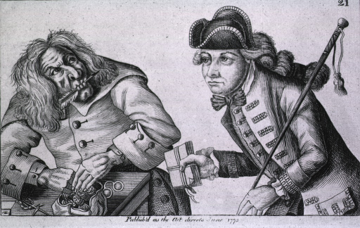 <p>An old man with a quill pen in his mouth, pays out a sum to a young man for a packet of documents which he expects to be able to profit from.</p>