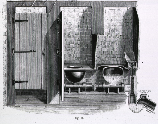 <p>Interior view of public restroom; cutaway drawing of interior of stalls with seats and detail of the waste disposal system and discharge pipe.</p>