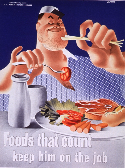 <p>A burly man is holding a stick of celery in one hand and a fork with a tomato on it in the other.  Before him is a plate of nutritious food.</p>