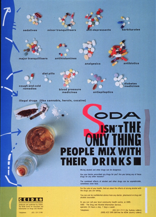 <p>Multicolor poster with black lettering.  Upper portion of poster dominated by visual image.  Image is a reproduction of a color photograph showing a bird's-eye view of several types of drugs, including illicit drugs, and a mixed drink.  Title and caption in lower right corner of poster.  Publisher information in lower left corner of poster.</p>