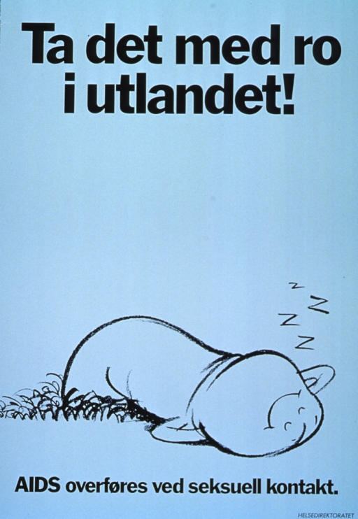 <p>Light green background with black lettering. Initial title is at top of the poster, while subtitle is at bottom of poster. Bottom third of poster is a cartoon-style, black line drawing of a penis snoozing on its back with a smiley face and &quot;z's&quot; above it. Publisher information is in very bottom right-hand corner.</p>