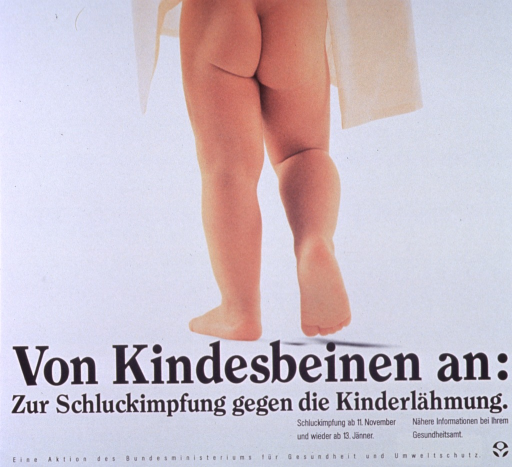 <p>Predominantly white poster with black lettering.  Poster dominated by a color photo reproduction showing a toddler's legs and bare buttocks.  Title below photo.  Additional text provides dates for vaccination and offers more information from health centers.  Publisher information at bottom of poster.</p>
