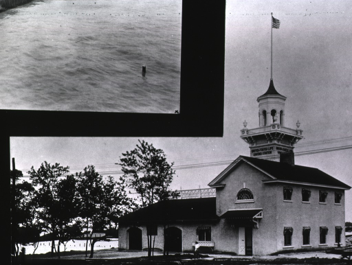 <p>View of front and side of a United States Life Saving Station exhibition building from the Jamestown Ter-centennial Exposition.</p>