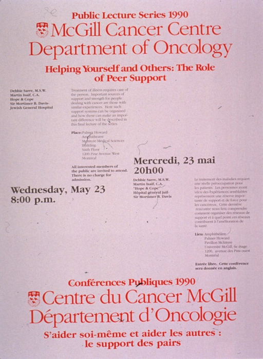 <p>Predominantly white poster with red and gray lettering announcing a lecture by Debbie Sarre and Martin Isaif, May 1990.  Also lists topical details, location, date, time, and free admission.  English information at top of poster on the left, French information at bottom of poster on the right.  University crest, in red and white, appears to the left of both titles.  Date and time are at the center of the poster on the same lines in both languages.</p>