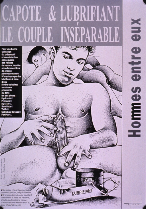 <p>Black and white poster with the visual showing a drawing of a male-male couple. One male is in the background, lying on the bed. The other male is in the foreground, putting on a condom, and using a lubricant. The text emphasizes the importance of using a condom and using a lubricant so the condom does not tear.  Information as to what does or does not constitute a reliable lubricant is also given.</p>