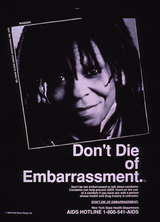 <p>Black and white poster with white lettering, illustrated with a photograph of Whoopi Goldberg.  A toll-free AIDS hotline number appears at the bottom.</p>