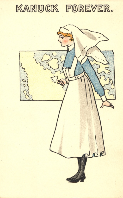 <p>Postcard featuring a color illustration of a nurse in unifrom wearing a blue shirt standing in front of a map of Canada. She is holding a flower in her right hand. From a series of 6 postcards showing uniforms of nursing services of the Commonwealth and the United States.</p>