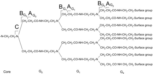 Notations for representing the CID fragmentation sites along the backbone of PAMAM dendrimers (only half of the molecule is shown).