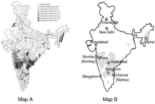 High HIV prevalence areas of India. Map A. HIV prevalence in India, by district. (Reproduced from Chandrasekaran, et al2, with Journal permission.) ANC = Antenatal Clinics. Map B. Cities mentioned in the text. Grey areas indicate where the prevalence in women attending antenatal clinics was >1% in 2005 (data approximated from Map A).