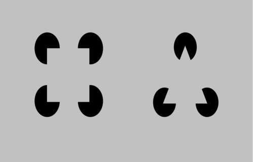 Kanizsa diagrams.A Kanizsa square (left) and a Kanizsa triangle (right) are shown.