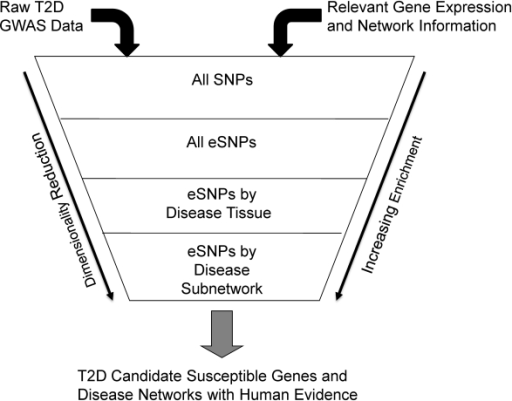 Diagram depicting the process of filtering SNPs using eSNPs and disease associated networks.