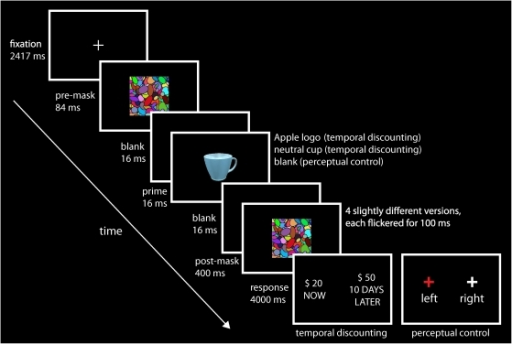 Stimuli and experimental paradigm.In each temporal discounting (TD) trial, a prime stimulus (Apple logo or neutral cup) was presented for 16 ms, flanked by two masks. The pre-mask was shown for 84 ms followed by a blank screen for 16 ms. The post-mask was shown for 400 ms, consisting of 4 slightly different versions, flickered for 100 ms each. The post-mask was further preceded by a blank screen for 16 ms, used to achieve optimal masking. During perceptual control (PC) trials, the prime stimulus was replaced by an additional blank screen (16 ms). Participants had to choose between two choice alternatives, presented randomly on either side of the screen. They indicated their choice by pressing a response button with their left or right thumb. For TD decisions, they had to choose between $20 now and a higher amount of money at some delay (shown on left side in the figure). For PC decisions, participants were asked to decide on which side the red cross appeared (shown on right side). The response period lasted 4000 ms.