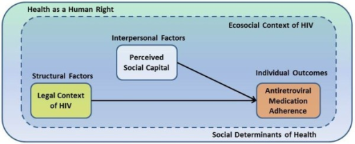 The ecosocial context of HIV-related criminal laws, social capital, and HIV antiretroviral adherence in North America.