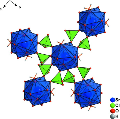 Perchlorate tetra­hedra in the structure of Sr(ClO4)2·3H2O linking the chains (oriented parallel to [100]) into (100) layers.