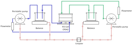 Schematic diagram of bench-scale FO test system.