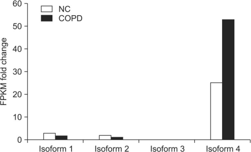 Human nuclear receptor coactivator 7 isoform expression based on RNA-sequencing. Isoforms expression in normal control (NC) and chronic obstructive pulmonary disease (COPD) human lung tissues. FPKM fold change was the ratio of average FPKM between COPD and NC.