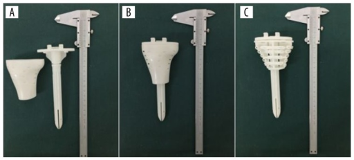 Surgical simulation using 3D-printed model. (A, B) Models of the knee prosthesis and the block. (C) Internal structure of the block.