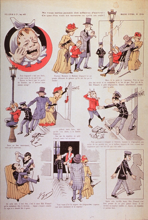 <p>Full page comic strip:  A boy is taken to the dentist; on the way he grabs hold of a lamp post, another boy comes along and offers to assist the parents, but the second boy loses his grip, is dragged into the office and has his tooth pulled.</p>