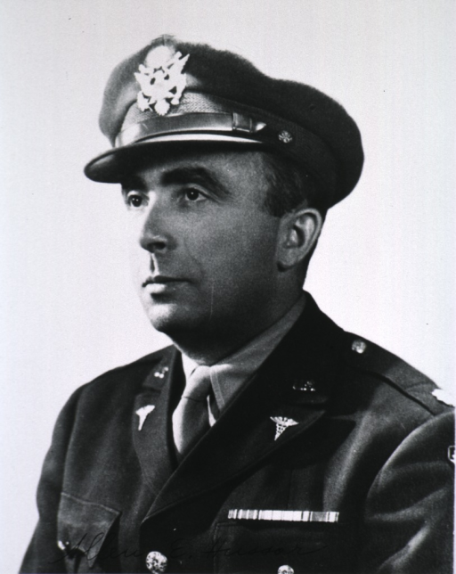 <p>Head and shoulders, left face, uniform, cap, army officer.</p>