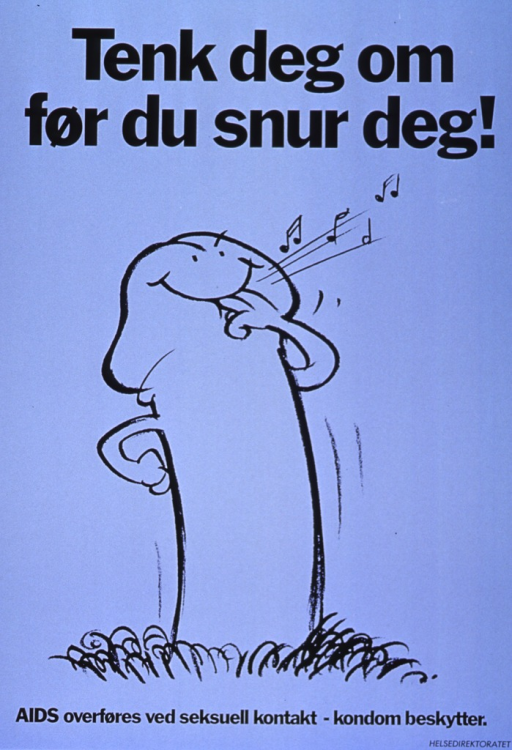 <p>Light blue background with black lettering. Initial title is at top of the poster, while subtitle is at bottom of poster. Most of poster is a cartoon-style, black line drawing of a penis standing straight up. It has a smiley face and it's whistling some music. Publisher information is in very bottom right-hand corner.</p>