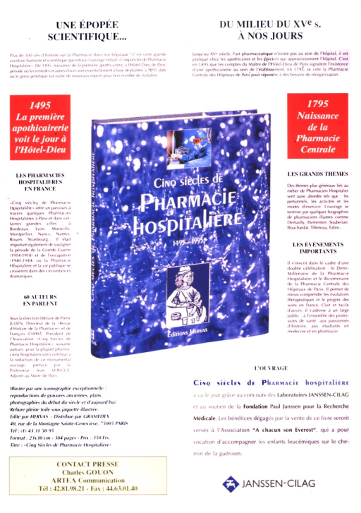 <p>The book, Cinq siecles de pharmacie hospitaliere, is the focus of the poster.</p>